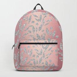 Elegant pink gradient glam silver glitter floral Backpack