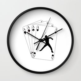 Javelin Throw on Poker Cards 4 Aces for Javelin Thrower Wall Clock