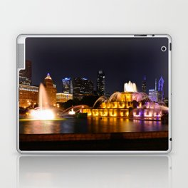 Chicago skyline and Buckingham Fountain at night. Laptop & iPad Skin