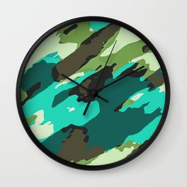 green blue and brown painting abstract background Wall Clock