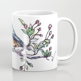 Bird on a Branch (drawn with one, continuous line) Coffee Mug