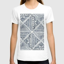 Simply Tribal Tile in Indigo Blue on Lunar Gray T-shirt