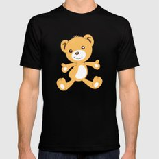 Parachuting Bear 2 MEDIUM Black Mens Fitted Tee