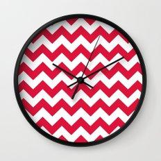 Chevron (Crimson/White) Wall Clock