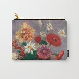 """Odilon Redon """"Flowers in a Green Vase (Fleurs Dans Un Vase Vert)"""" Carry-All Pouch"""