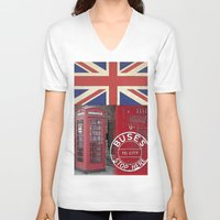 british flag V-neck T-shirts featuring Very British by LebensART
