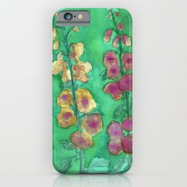 Hollyhock Foxglove Watercolor Honey & Berry on Green iPhone Case
