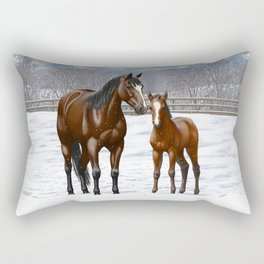 Bay Mare and Cute Foal in Winter Rectangular Pillow