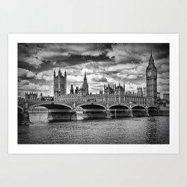 LONDON Houses of Parliament & Westminster Bridge Art Print