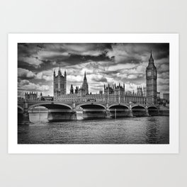 LONDON Houses of Parliament & Westminster Bridge Art Print