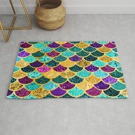 Glitter Purple, Aqua and Gold Mermaid Scales Pattern Rug