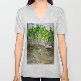 Florida Mangrove Tea Water in the Everglades Unisex V-Neck