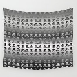 Skull and XBones - Smaller: Metal and Slight Pink Wall Tapestry