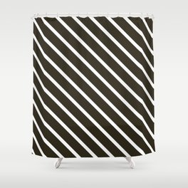 Molasses Diagonal Stripes Shower Curtain