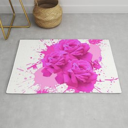 CERISE PINK ROSE PATTERN WATERCOLOR SPLATTER Rug