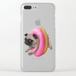 Donut Pug Clear iPhone Case