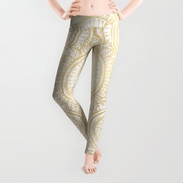 Elegant Gold Mandala Sunflower White Pattern Leggings