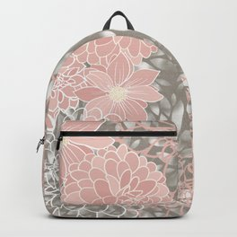 Floral Pattern Dahlias, Blush Pink, Gray, White Backpack