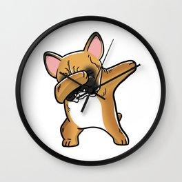 Funny Fawn French Bulldog Dabbing Wall Clock