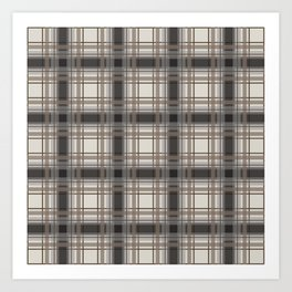 Brown Plaid with tan, cream and gray Art Print