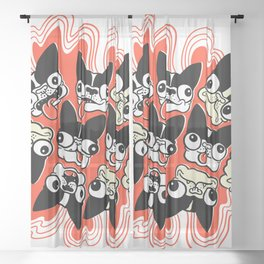 Crazy Boston Terriers Sheer Curtain