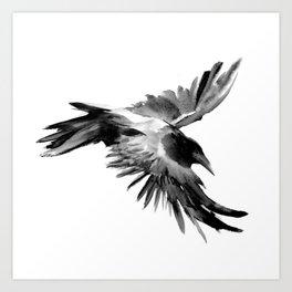 Flying Raven Art Print