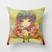 ladybug Throw Pillows featuring ladybug by kiDChan