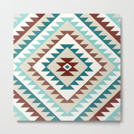 Aztec Motif Diamond Teals Creams Browns Metal Print