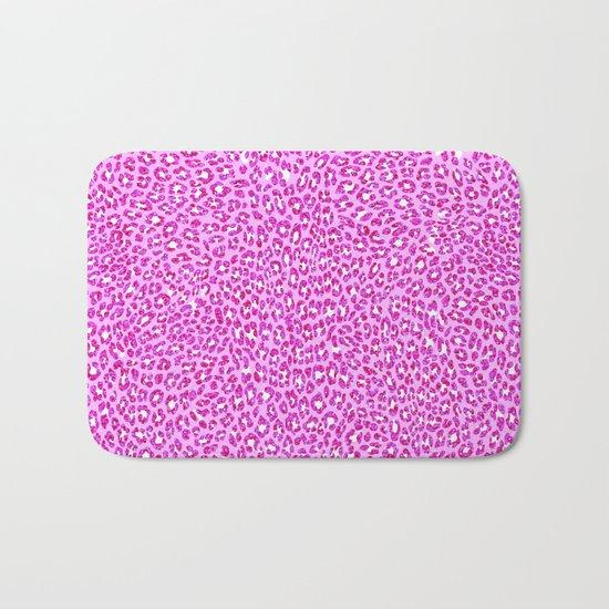 Light Pink Glitter Cheetah Print Bath Mat