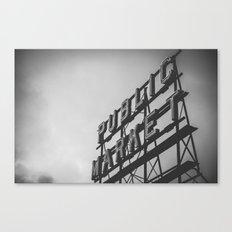 Seattle Pike Place Public Market Black and White Canvas Print