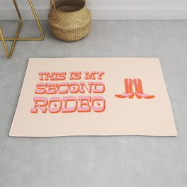 This is My Second Rodeo (pink and orange old west letters) Rug