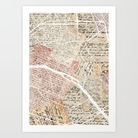 paris map Art Prints featuring Paris map by Mapsland