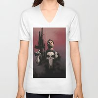punisher V-neck T-shirts featuring Punisher by Dave Seguin