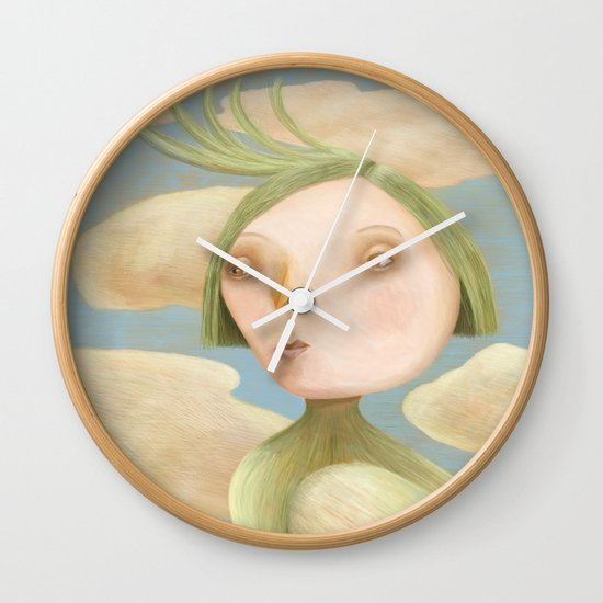 Green Crested Ladytoo Wall Clock