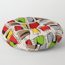 Mid-Century Abstract Rectangles Floor Pillow