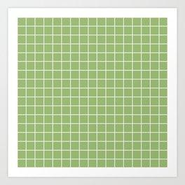 Olivine - green color - White Lines Grid Pattern Art Print