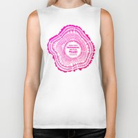 literary Biker Tanks featuring My List – Pink Ombré Ink by Cat Coquillette