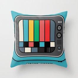 blue tv Throw Pillow