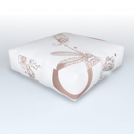 Letter S Rose Gold Pink Initial Monogram Outdoor Floor Cushion
