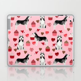 Husky Siberian Huskies dog breed valentines day love pattern print by pet friendly for dog person Laptop & iPad Skin