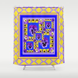 MODERN PURPLE-YELLOW PANSY GARDEN  ABSTRACT ART Shower Curtain