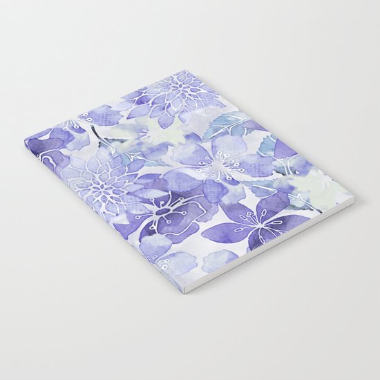 Purple Flower watercolor allover pattern Notebook