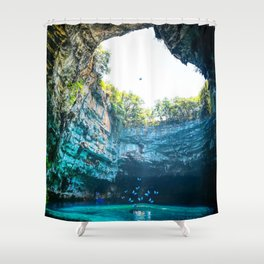 Sea Cave in Greece Shower Curtain