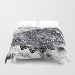 Galaxy Space Mandala (Black and White & Gray Scale) Mystical Adventurous Duvet Cover
