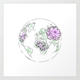 Antique World Map Pink Blue, The globe of the earth and flowers, home decor, Graphic-design Art Print