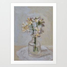 Little White Wild Flowers in Vase Art Print
