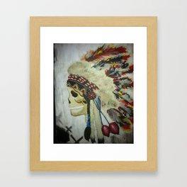 INDIAN WITH HEAD DRESS Framed Art Print