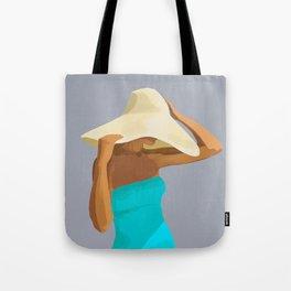 At the Beach: Aqua suit Tote Bag