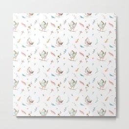 Hand painted pink teal watercolor bohemian bird floral pattern Metal Print