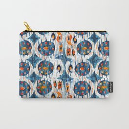 blue circle balinese ikat print mini Carry-All Pouch